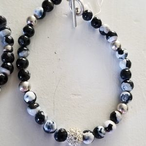 B/W faceted agate &swarovski sterling bracelet